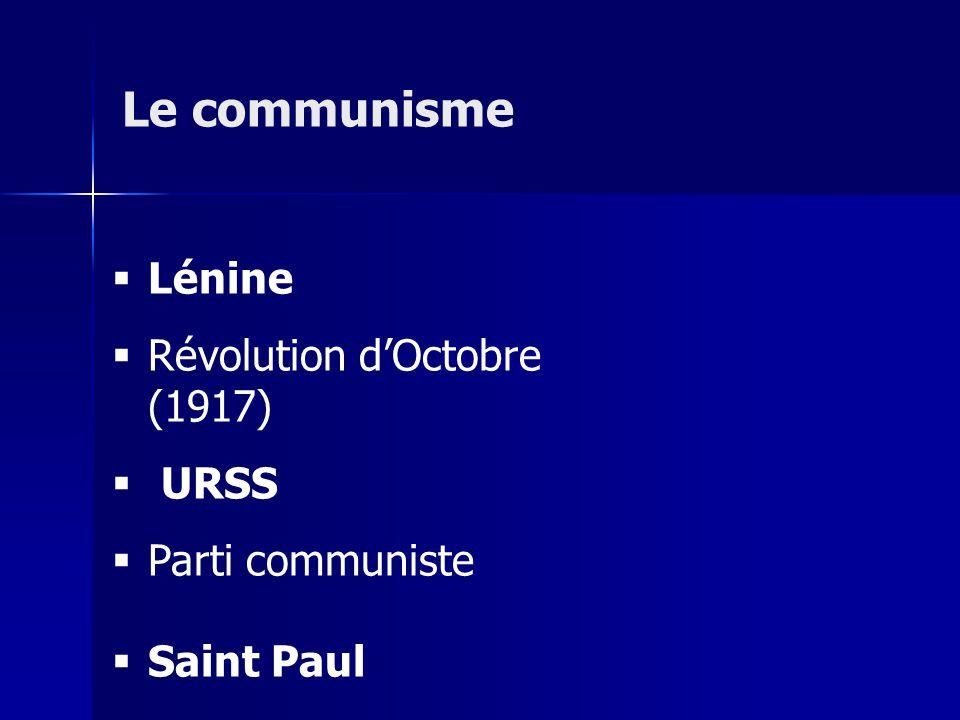 Le communisme Lénine Révolution d'Octobre (1917) URSS Parti communiste