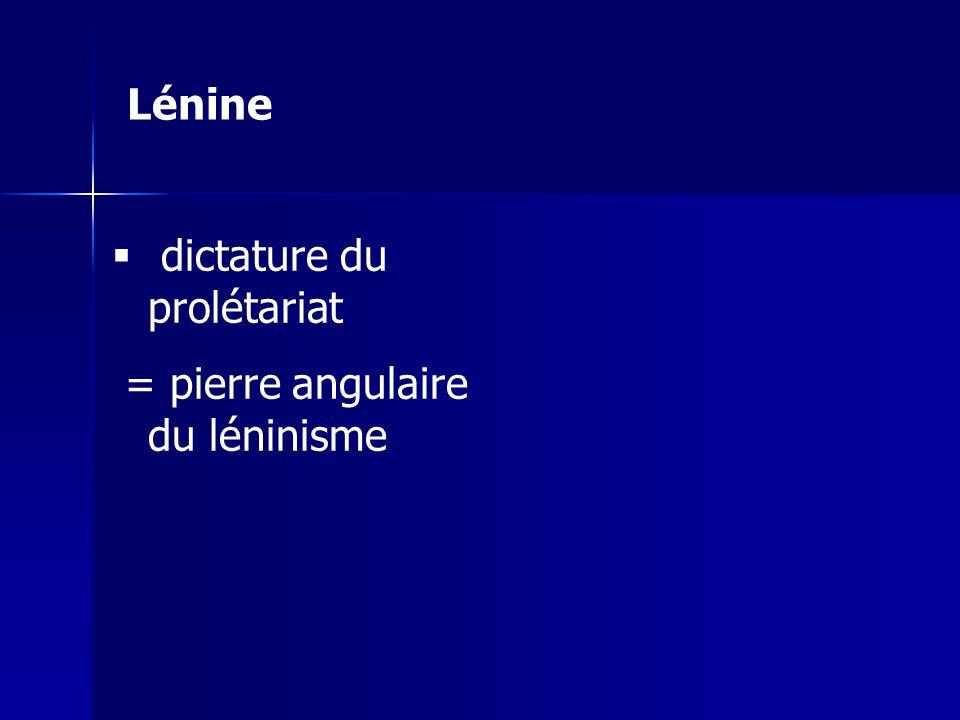 Lénine dictature du prolétariat = pierre angulaire du léninisme