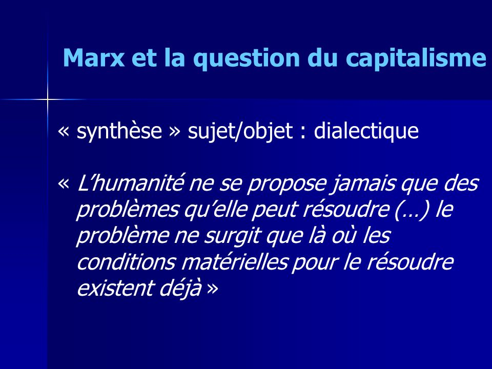 Marx et la question du capitalisme