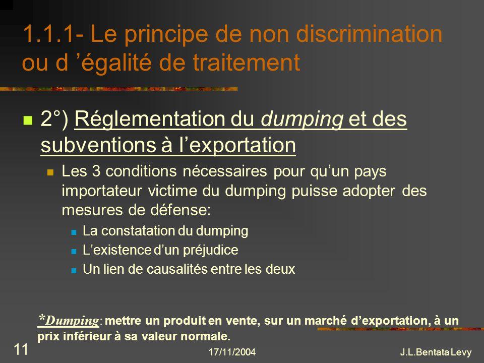 1.1.1- Le principe de non discrimination ou d 'égalité de traitement