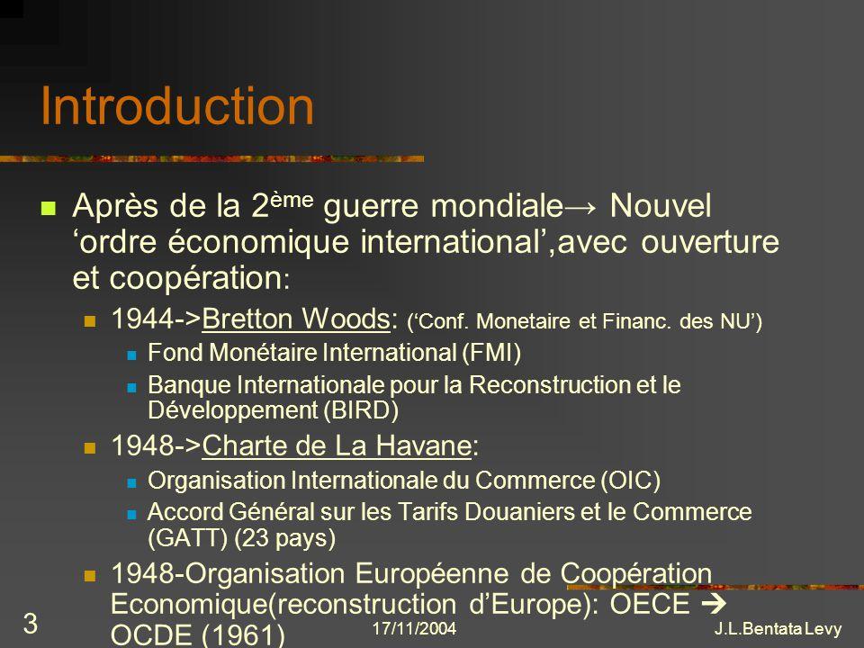 Introduction Après de la 2ème guerre mondiale→ Nouvel 'ordre économique international',avec ouverture et coopération: