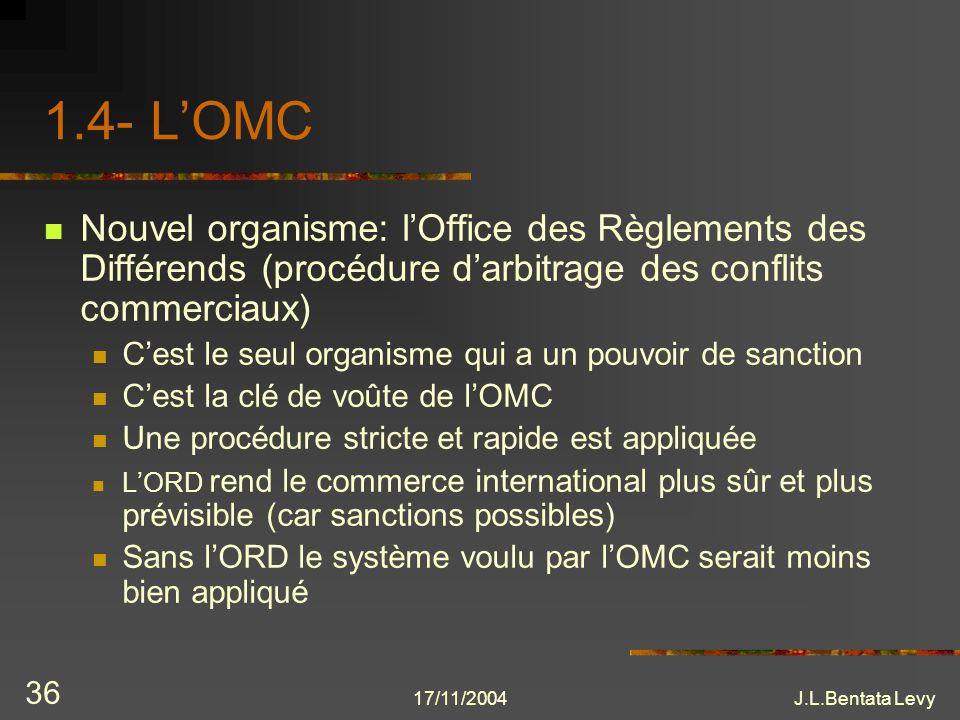 1.4- L'OMC Nouvel organisme: l'Office des Règlements des Différends (procédure d'arbitrage des conflits commerciaux)