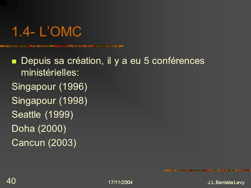 1.4- L'OMC Depuis sa création, il y a eu 5 conférences ministérielles:
