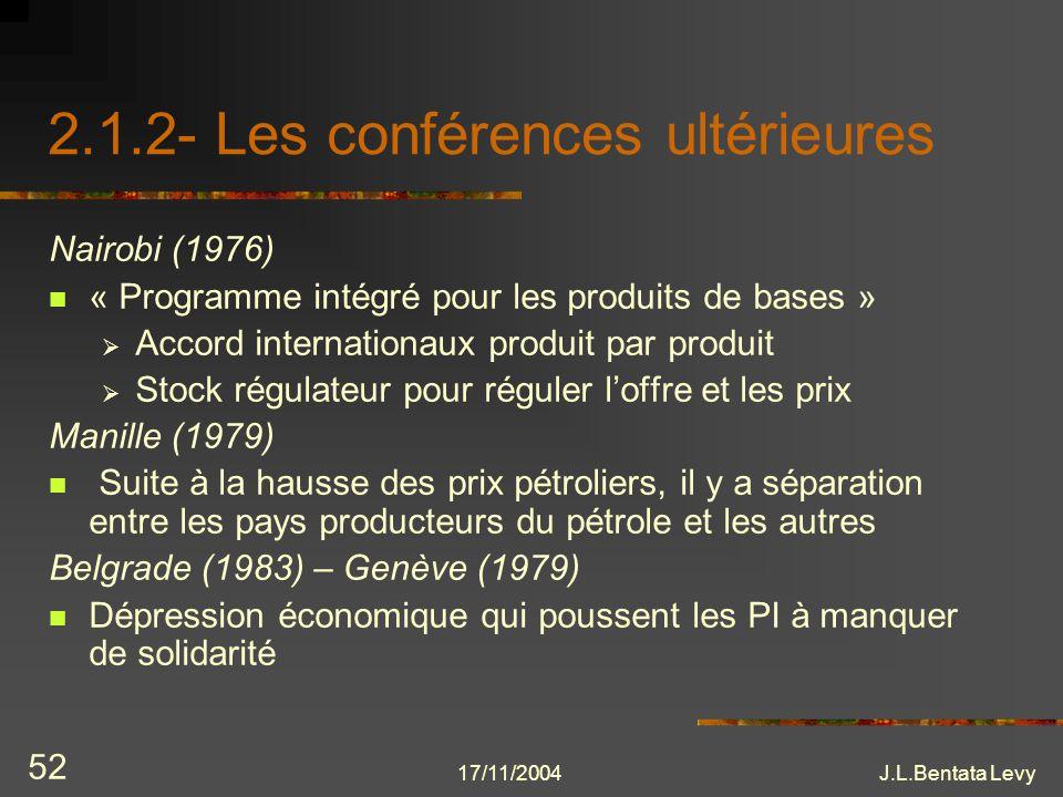 2.1.2- Les conférences ultérieures