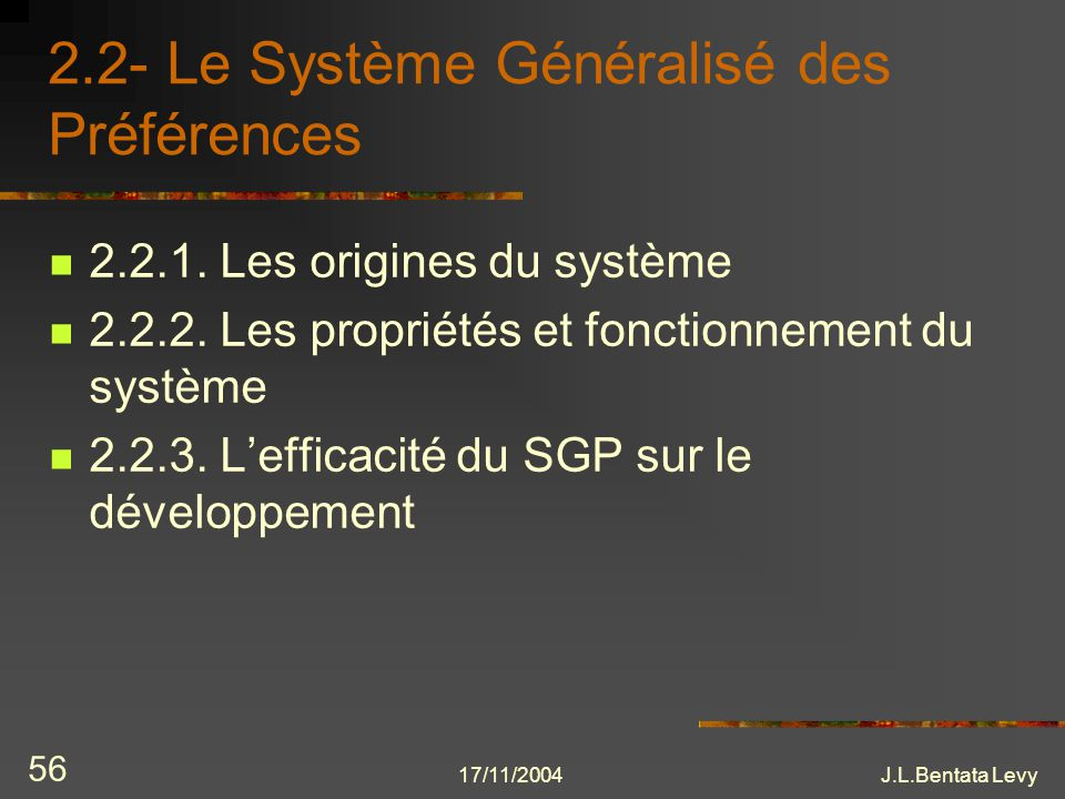 2.2- Le Système Généralisé des Préférences