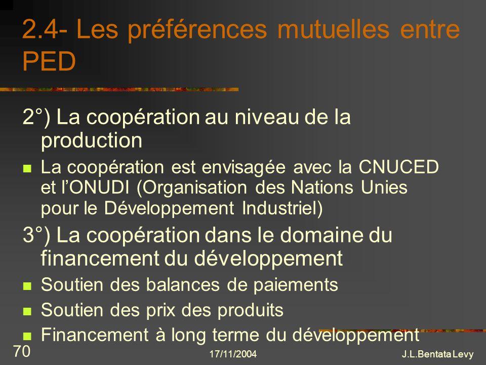 2.4- Les préférences mutuelles entre PED