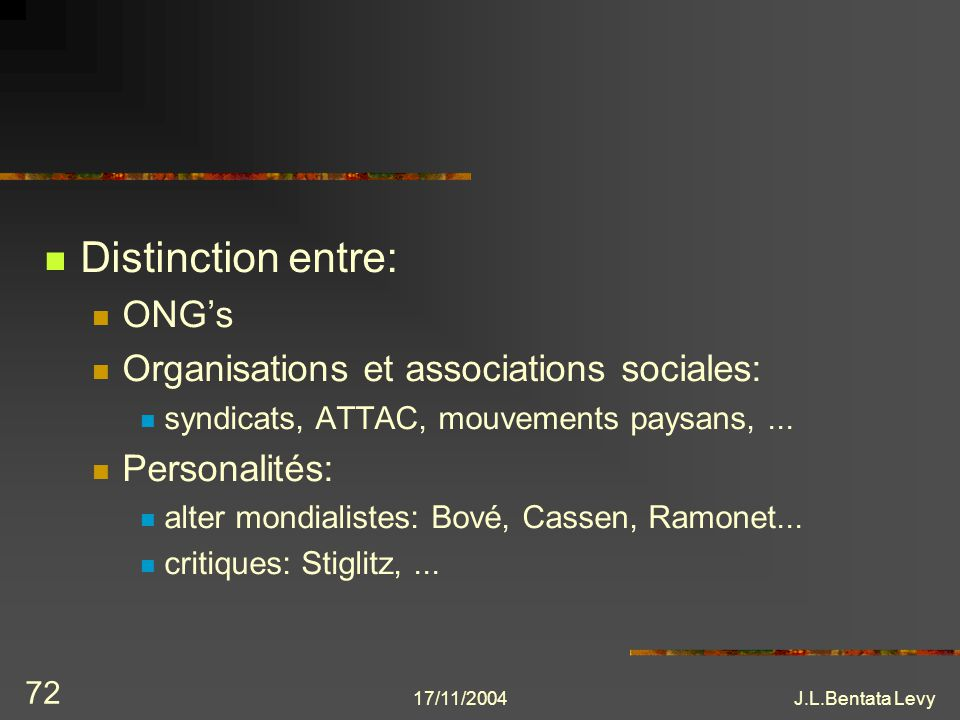 Distinction entre: ONG's Organisations et associations sociales:
