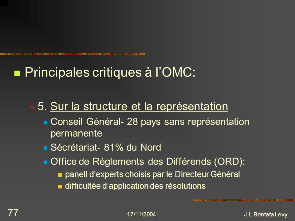 Principales critiques à l'OMC: