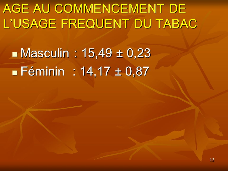 AGE AU COMMENCEMENT DE L'USAGE FREQUENT DU TABAC