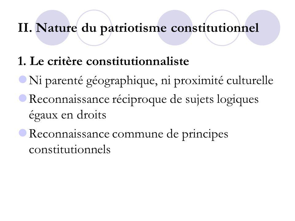 II. Nature du patriotisme constitutionnel