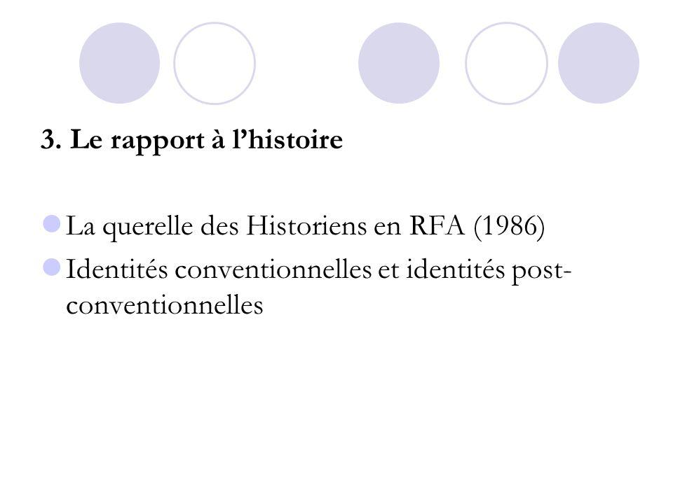 3. Le rapport à l'histoire