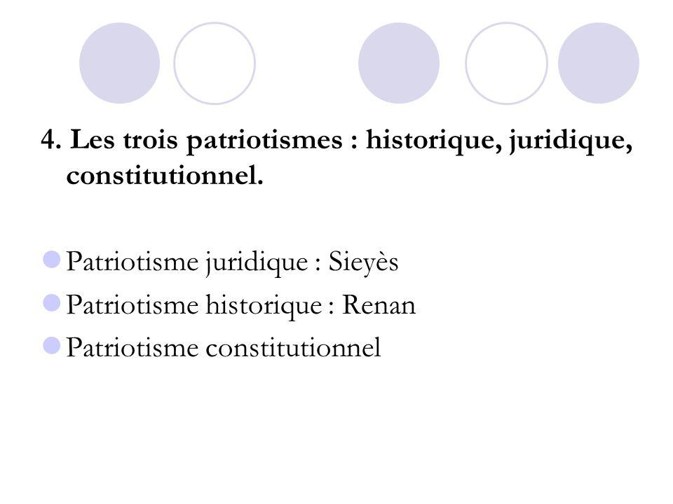 4. Les trois patriotismes : historique, juridique, constitutionnel.