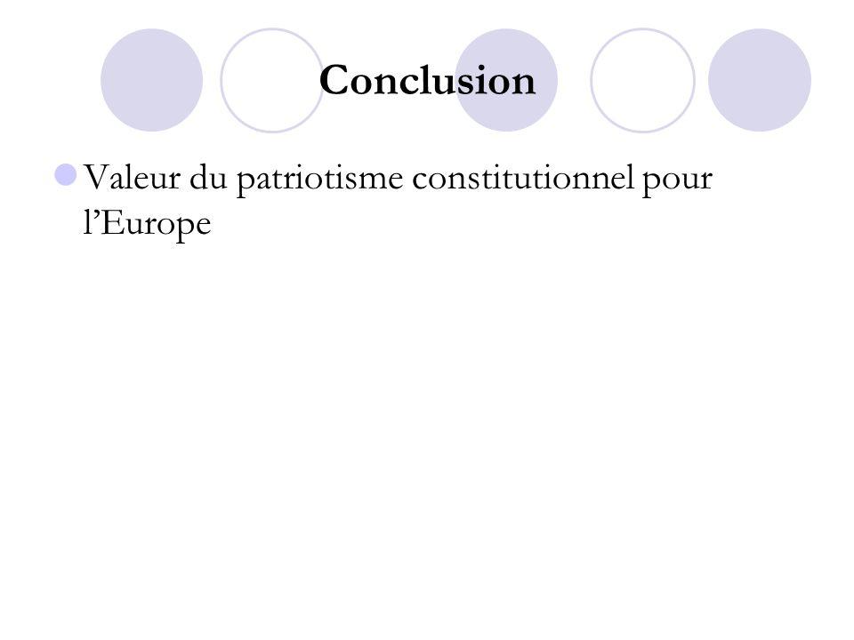 Conclusion Valeur du patriotisme constitutionnel pour l'Europe