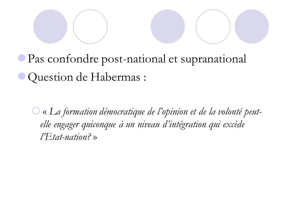 Pas confondre post-national et supranational Question de Habermas :