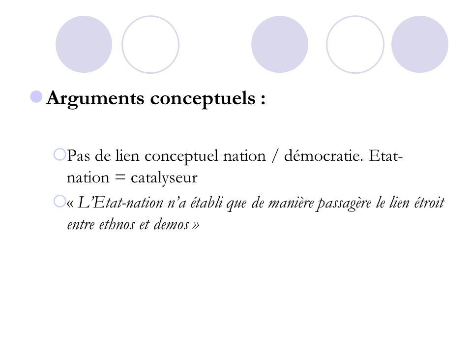 Arguments conceptuels :