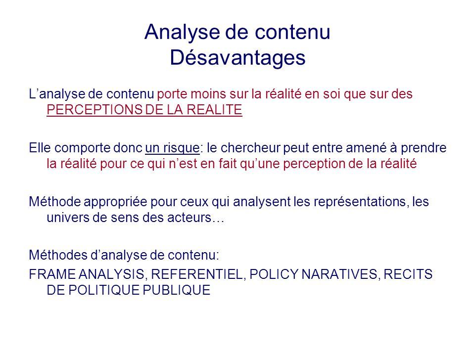 Analyse de contenu Désavantages