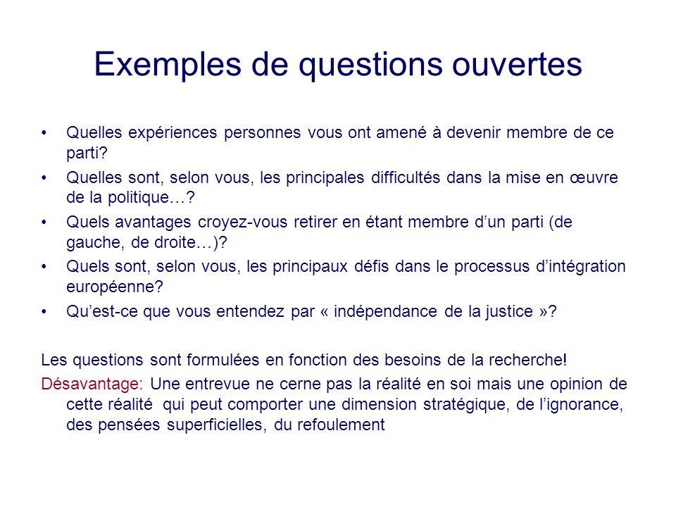 Exemples de questions ouvertes