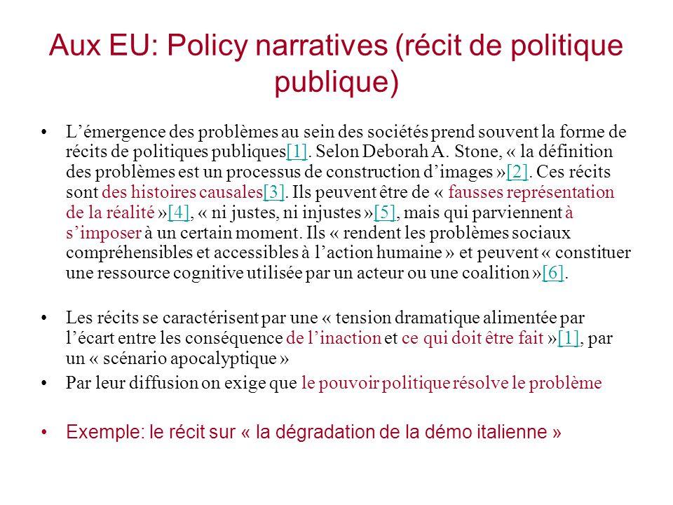 Aux EU: Policy narratives (récit de politique publique)