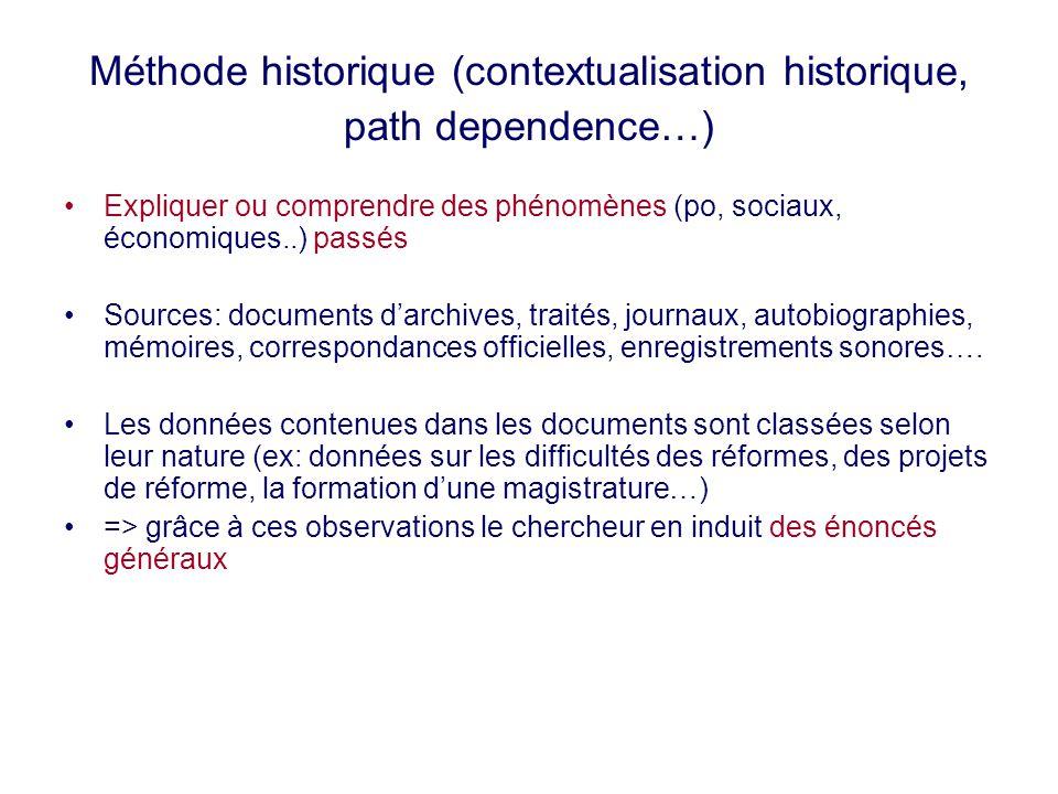 Méthode historique (contextualisation historique, path dependence…)
