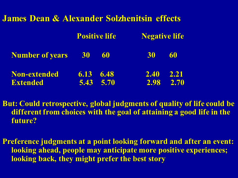 James Dean & Alexander Solzhenitsin effects Positive life Negative life