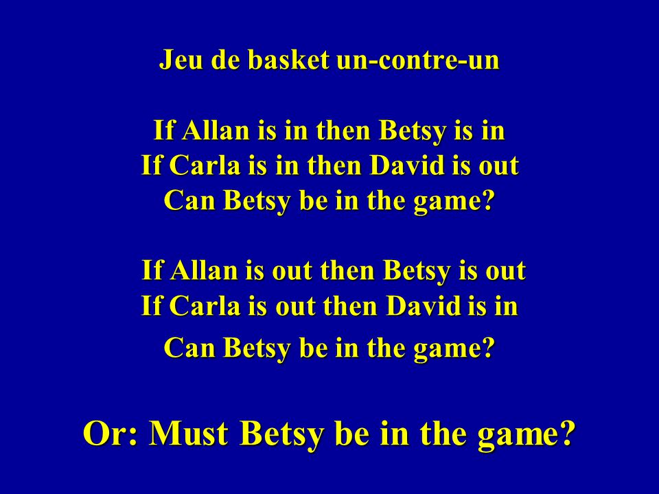 Jeu de basket un-contre-un If Allan is in then Betsy is in If Carla is in then David is out Can Betsy be in the game.