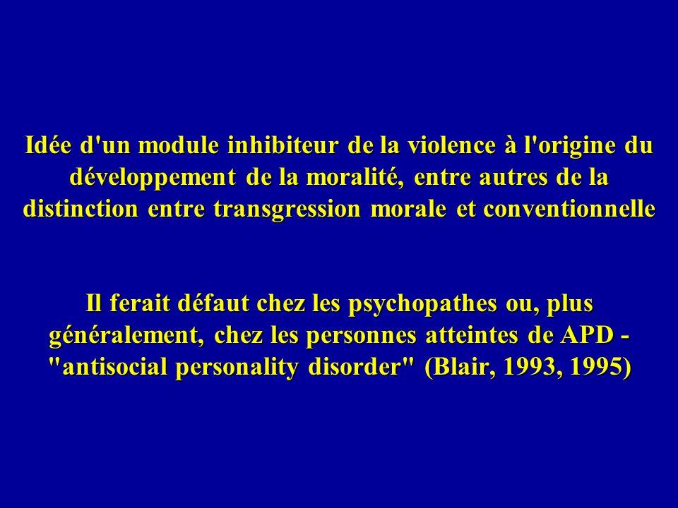 Idée d un module inhibiteur de la violence à l origine du développement de la moralité, entre autres de la distinction entre transgression morale et conventionnelle Il ferait défaut chez les psychopathes ou, plus généralement, chez les personnes atteintes de APD - antisocial personality disorder (Blair, 1993, 1995)
