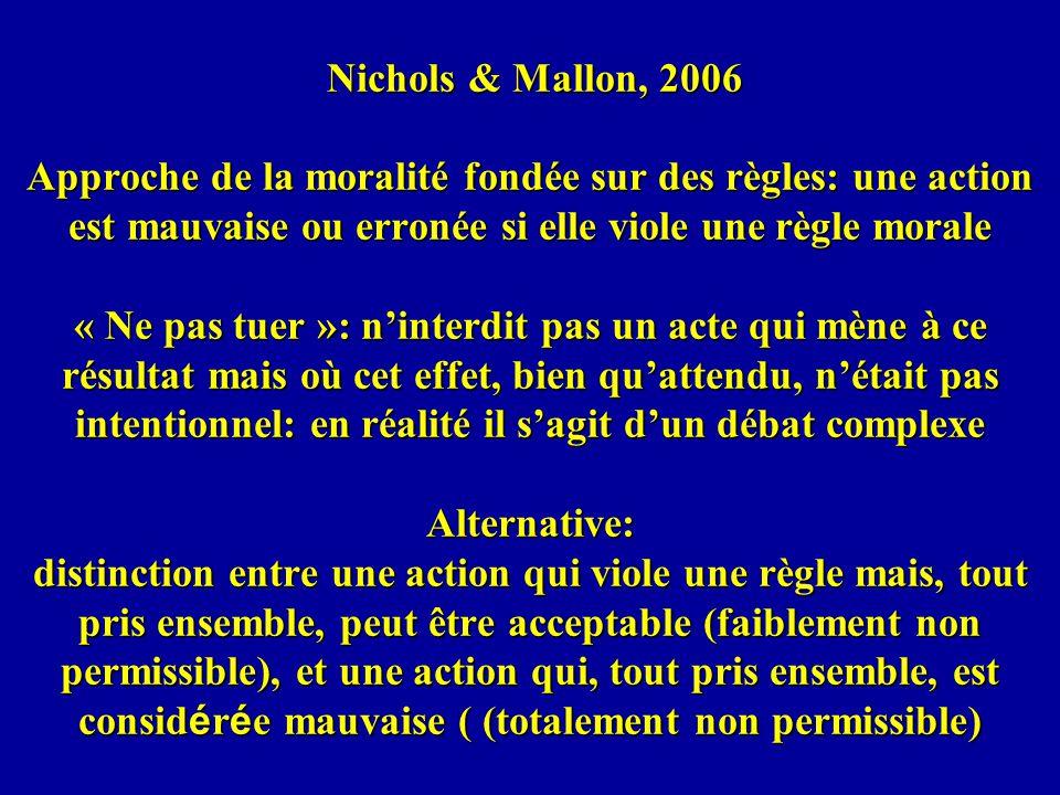 Nichols & Mallon, 2006 Approche de la moralité fondée sur des règles: une action est mauvaise ou erronée si elle viole une règle morale « Ne pas tuer »: n'interdit pas un acte qui mène à ce résultat mais où cet effet, bien qu'attendu, n'était pas intentionnel: en réalité il s'agit d'un débat complexe Alternative: distinction entre une action qui viole une règle mais, tout pris ensemble, peut être acceptable (faiblement non permissible), et une action qui, tout pris ensemble, est considérée mauvaise ( (totalement non permissible)
