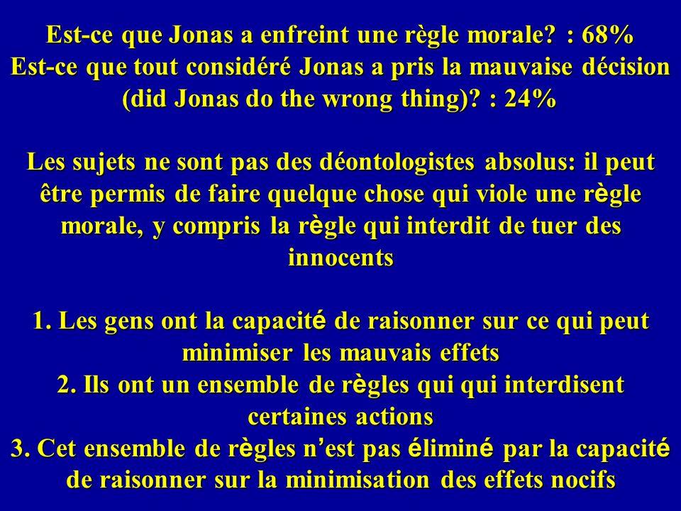 Est-ce que Jonas a enfreint une règle morale