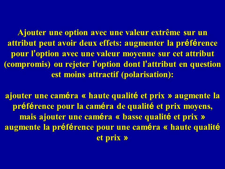Ajouter une option avec une valeur extrême sur un attribut peut avoir deux effets: augmenter la préférence pour l'option avec une valeur moyenne sur cet attribut (compromis) ou rejeter l'option dont l'attribut en question est moins attractif (polarisation): ajouter une caméra « haute qualité et prix » augmente la préférence pour la caméra de qualité et prix moyens, mais ajouter une caméra « basse qualité et prix » augmente la préférence pour une caméra « haute qualité et prix »