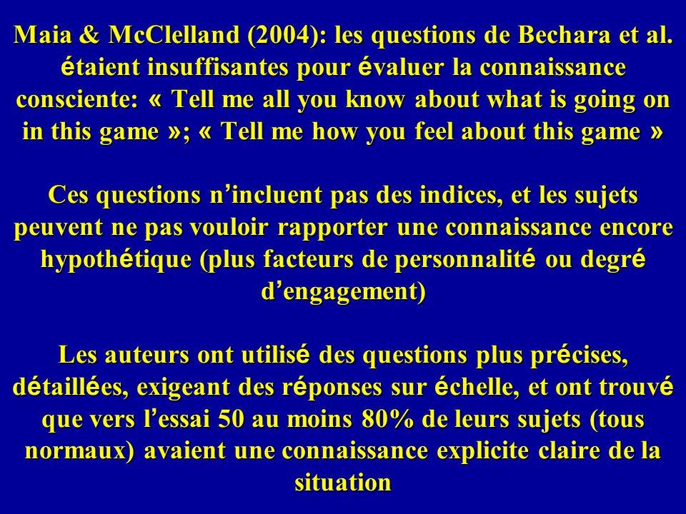 Maia & McClelland (2004): les questions de Bechara et al