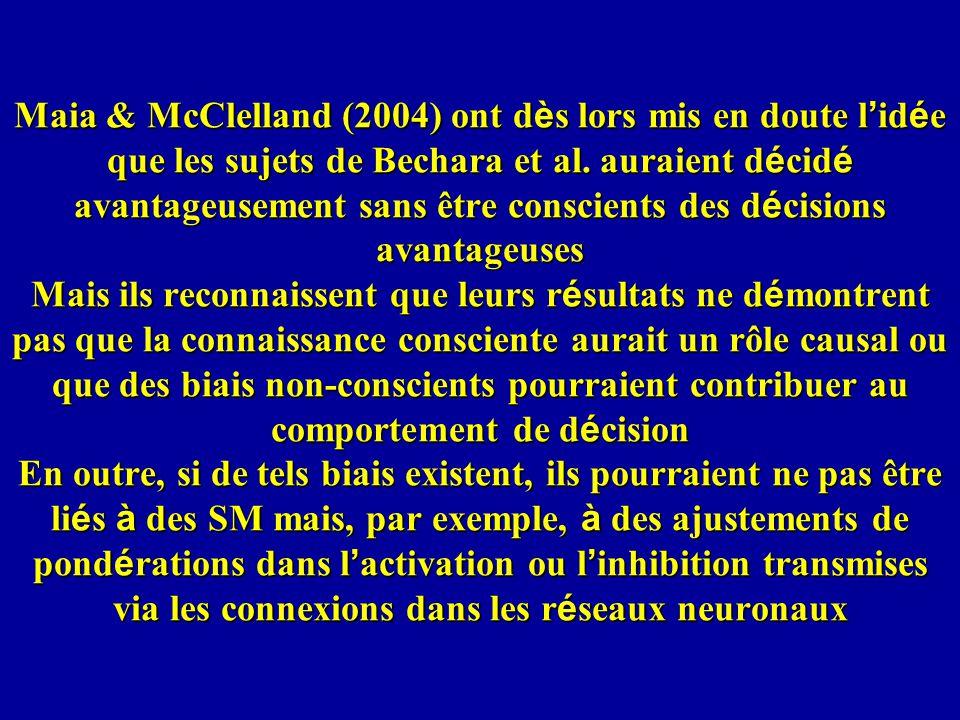 Maia & McClelland (2004) ont dès lors mis en doute l'idée que les sujets de Bechara et al.