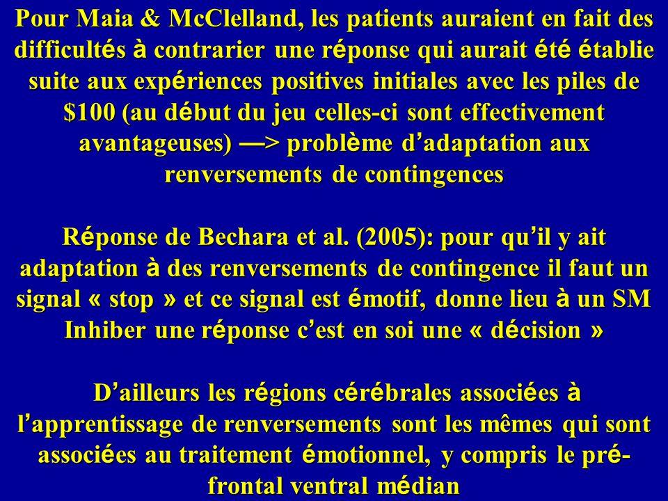 Pour Maia & McClelland, les patients auraient en fait des difficultés à contrarier une réponse qui aurait été établie suite aux expériences positives initiales avec les piles de $100 (au début du jeu celles-ci sont effectivement avantageuses) —> problème d'adaptation aux renversements de contingences Réponse de Bechara et al.