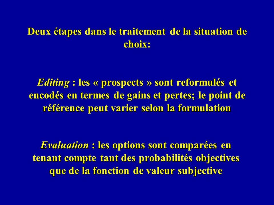 Deux étapes dans le traitement de la situation de choix: Editing : les « prospects » sont reformulés et encodés en termes de gains et pertes; le point de référence peut varier selon la formulation