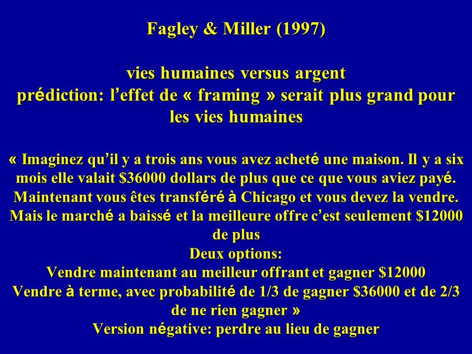 Fagley & Miller (1997) vies humaines versus argent prédiction: l'effet de « framing » serait plus grand pour les vies humaines « Imaginez qu'il y a trois ans vous avez acheté une maison.