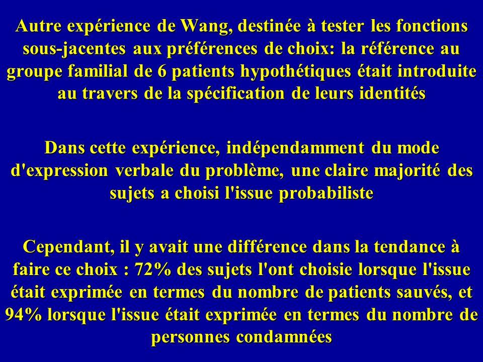 Autre expérience de Wang, destinée à tester les fonctions sous-jacentes aux préférences de choix: la référence au groupe familial de 6 patients hypothétiques était introduite au travers de la spécification de leurs identités