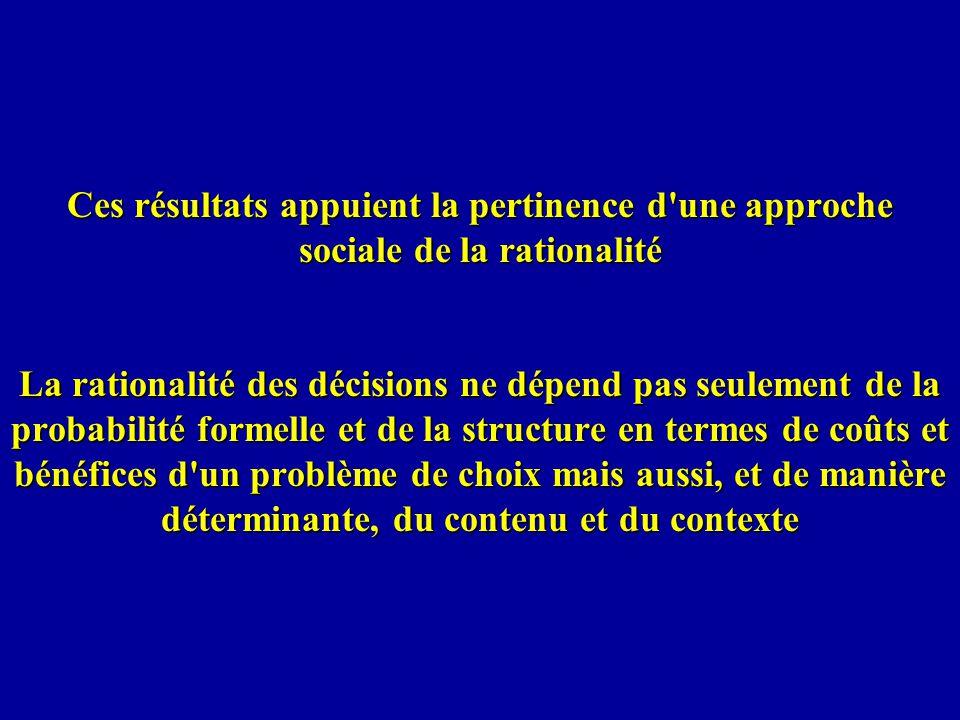 Ces résultats appuient la pertinence d une approche sociale de la rationalité La rationalité des décisions ne dépend pas seulement de la probabilité formelle et de la structure en termes de coûts et bénéfices d un problème de choix mais aussi, et de manière déterminante, du contenu et du contexte