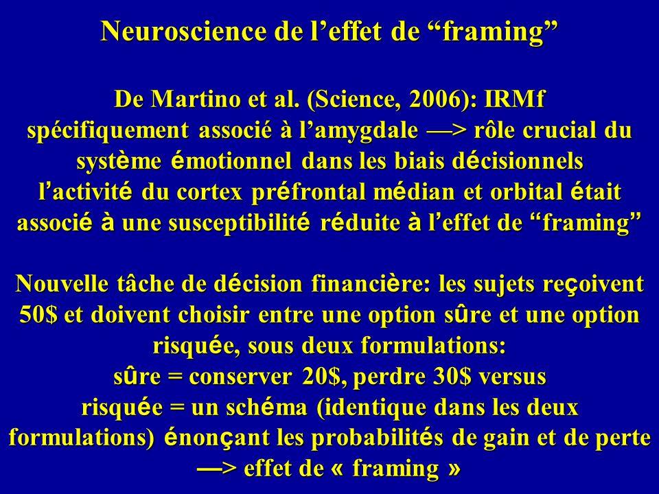 Neuroscience de l'effet de framing De Martino et al