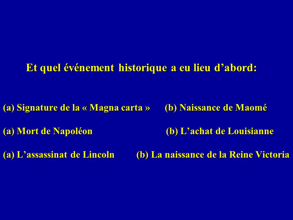 Et quel événement historique a eu lieu d'abord: (a) Signature de la « Magna carta » (b) Naissance de Maomé (a) Mort de Napoléon (b) L'achat de Louisianne (a) L'assassinat de Lincoln (b) La naissance de la Reine Victoria