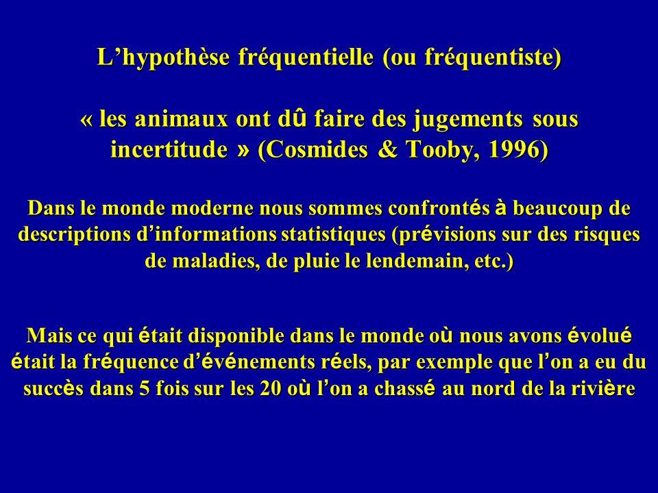 L'hypothèse fréquentielle (ou fréquentiste) « les animaux ont dû faire des jugements sous incertitude » (Cosmides & Tooby, 1996) Dans le monde moderne nous sommes confrontés à beaucoup de descriptions d'informations statistiques (prévisions sur des risques de maladies, de pluie le lendemain, etc.)
