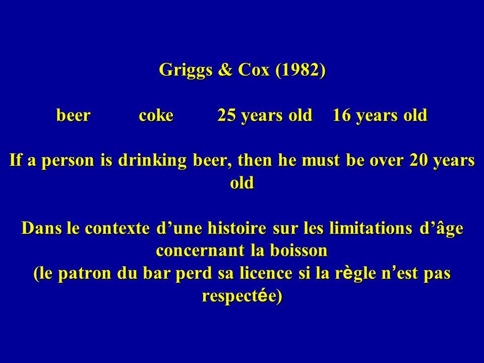 Griggs & Cox (1982) beer coke 25 years old 16 years old If a person is drinking beer, then he must be over 20 years old Dans le contexte d'une histoire sur les limitations d'âge concernant la boisson (le patron du bar perd sa licence si la règle n'est pas respectée)