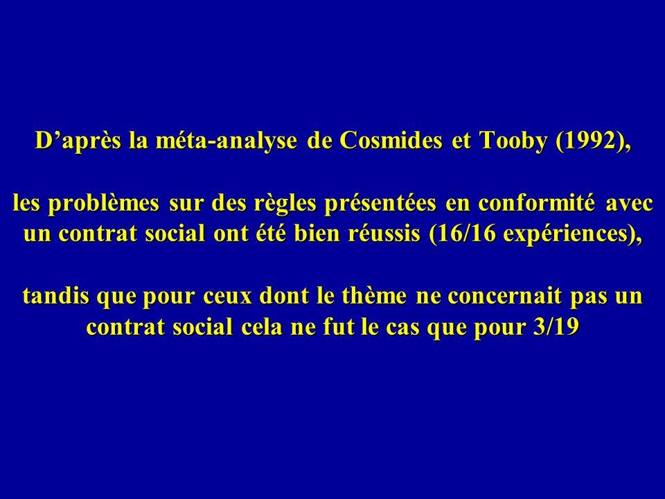 D'après la méta-analyse de Cosmides et Tooby (1992), les problèmes sur des règles présentées en conformité avec un contrat social ont été bien réussis (16/16 expériences), tandis que pour ceux dont le thème ne concernait pas un contrat social cela ne fut le cas que pour 3/19