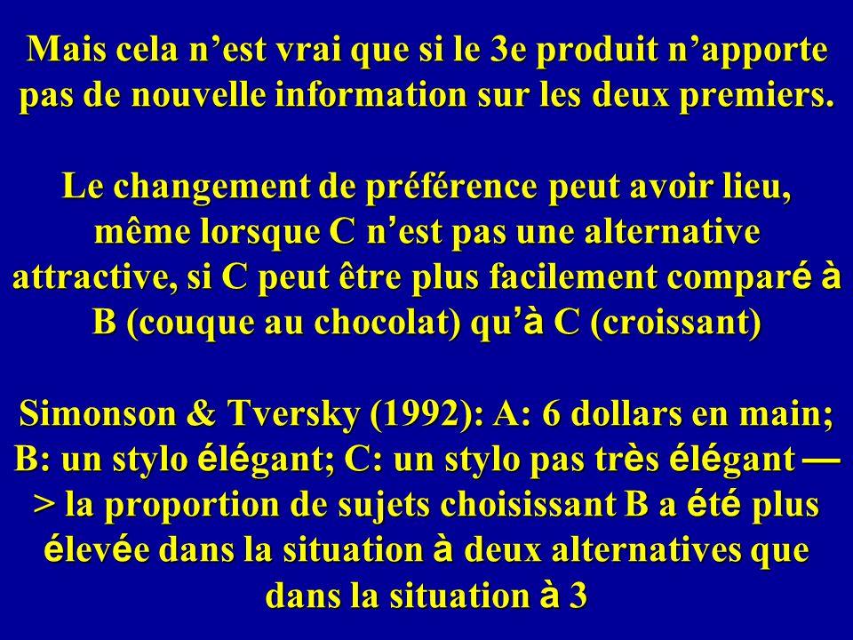 Mais cela n'est vrai que si le 3e produit n'apporte pas de nouvelle information sur les deux premiers.