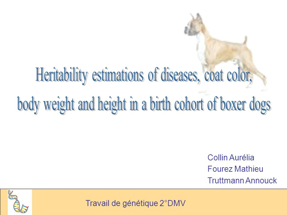 Heritability estimations of diseases, coat color,