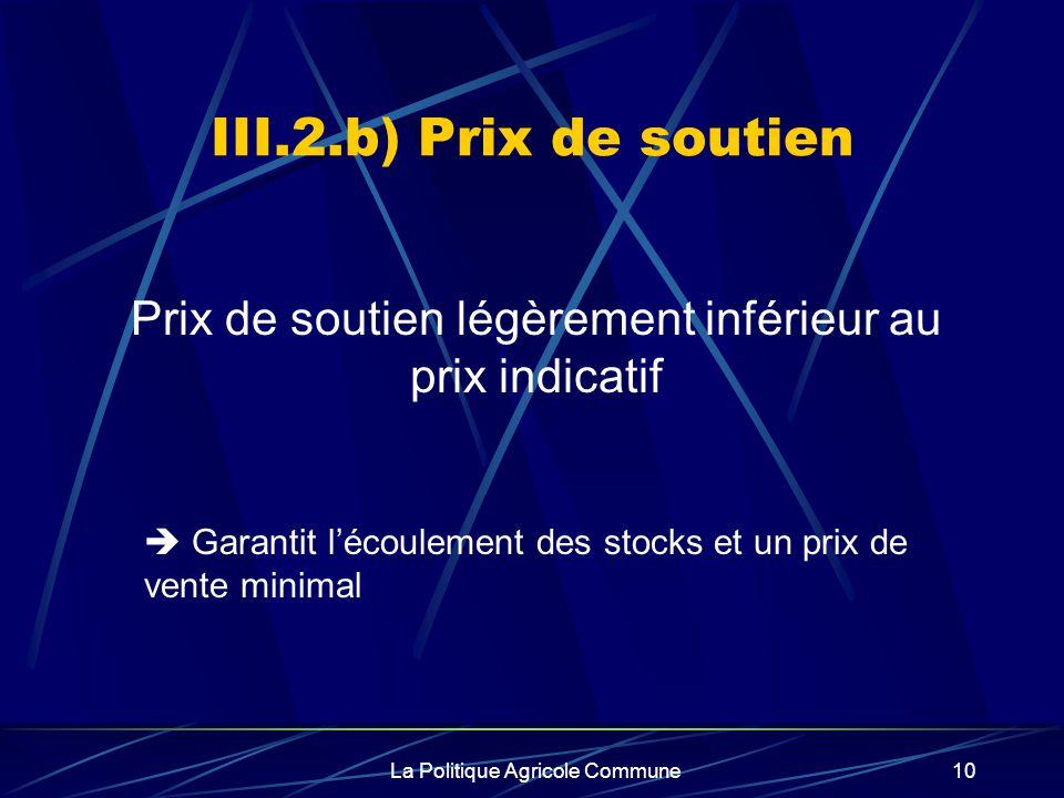 III.2.b) Prix de soutien Prix de soutien légèrement inférieur au prix indicatif.  Garantit l'écoulement des stocks et un prix de vente minimal.
