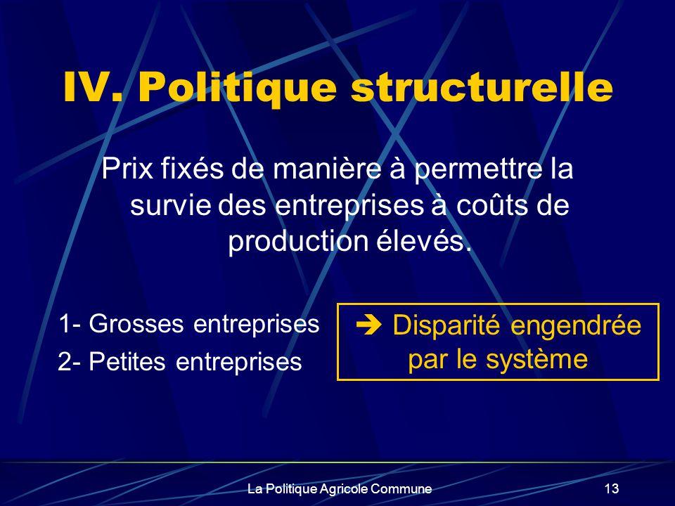 IV. Politique structurelle
