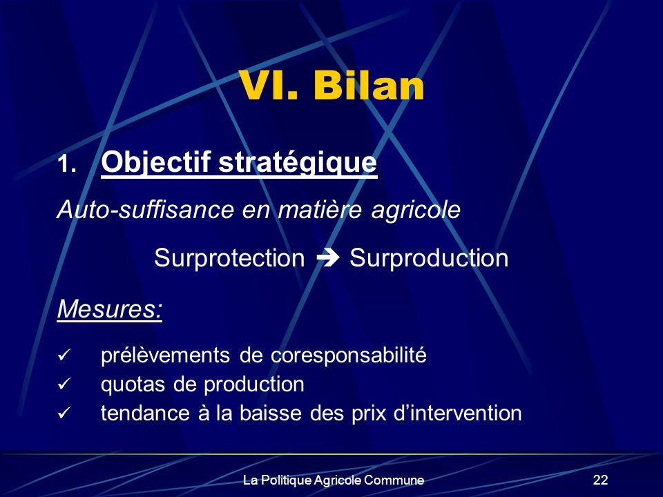 VI. Bilan Objectif stratégique Auto-suffisance en matière agricole