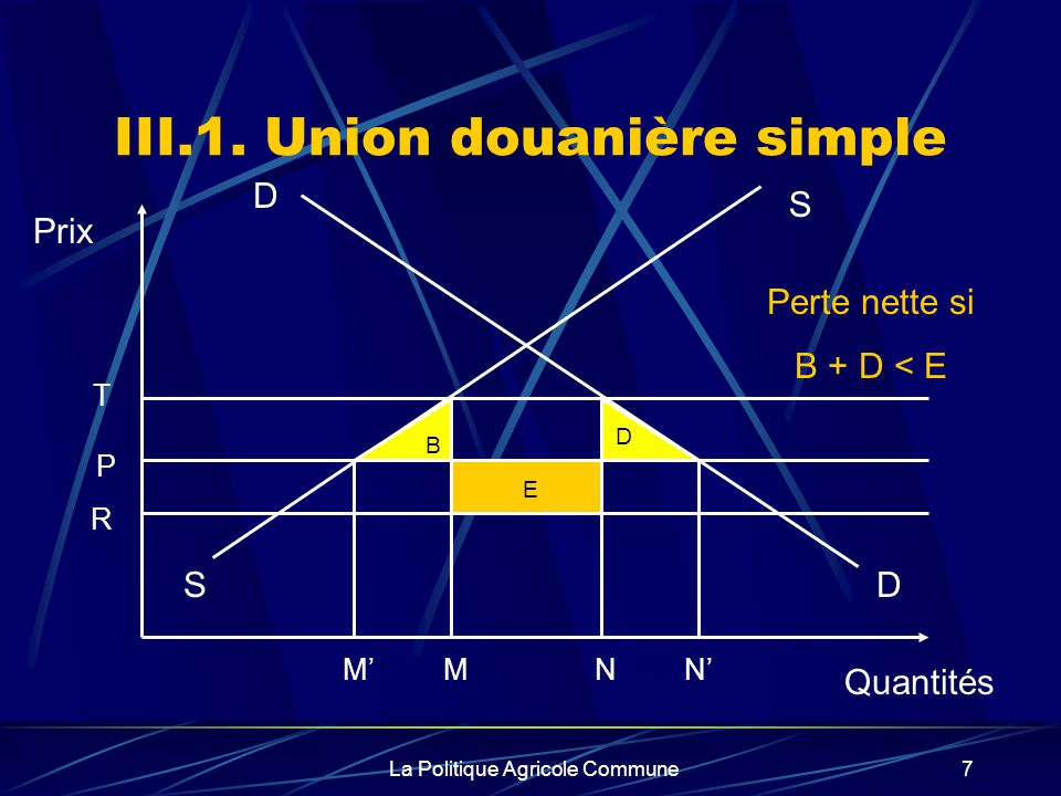 III.1. Union douanière simple