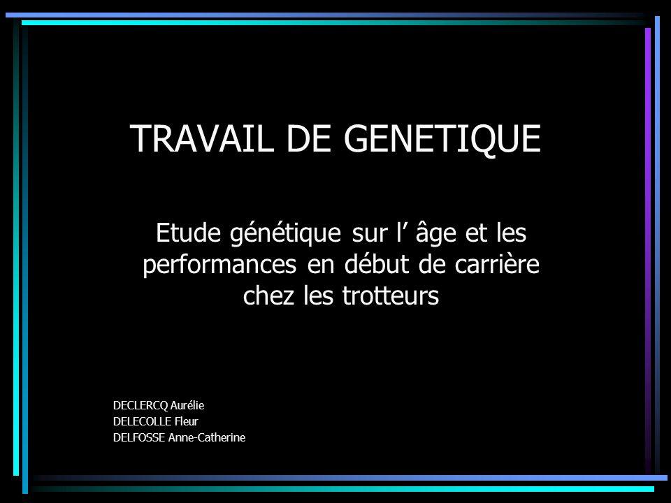 TRAVAIL DE GENETIQUE Etude génétique sur l' âge et les performances en début de carrière chez les trotteurs.
