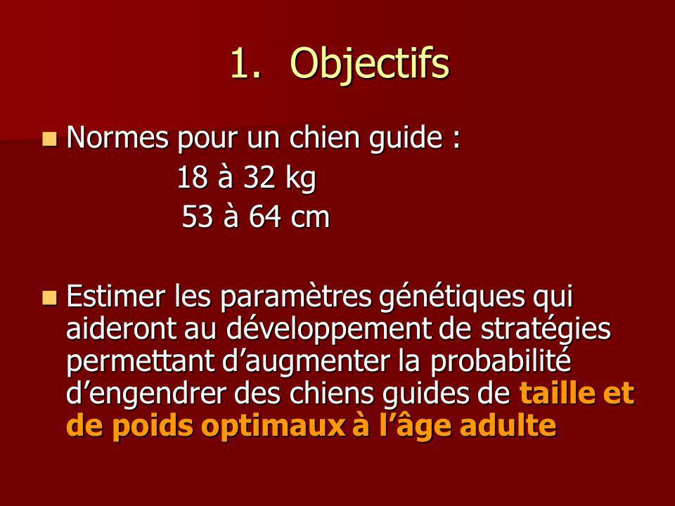 Objectifs Normes pour un chien guide : 18 à 32 kg 53 à 64 cm