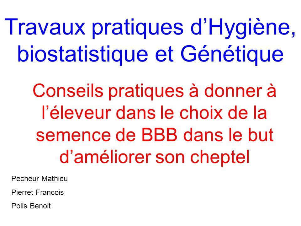 Travaux pratiques d'Hygiène, biostatistique et Génétique